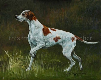 English Pointer print from painting 11x14 inches or you choose the size