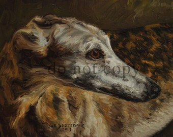 Greyhound print made from painting 11x14 inches or you choose the size sold by artist