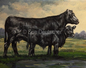 Black Angus print from painting 11x14 inches or you choose the size