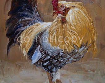 rooster art print 14x11 inches or you choose the size - from original painting sold by artist