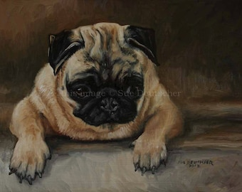 Pug Dog print from painting - sold by artist - 11x14 inches or you choose the standard size