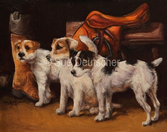 Parson Jack Russell Terrier with Saddle 11x14 inch print from painting
