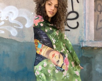 Frida Kahlo Scarf, Hand Painted Shawl, Frida Art Painting | Wedding accessory, Birthday gift women, Frida Fan Art | Christmas gift for mom