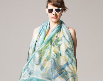 Serenity Tulips silk shawl Hand painted silk scarf Silk scarves for women Unique scarf Bridal shawl Floral  scarves/Pale Blue yellow scarf