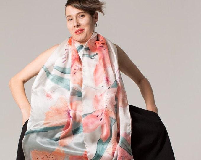 Featured listing image: Wedding Shawl- Peach Lilies. Hand painted scarf Silk Satin Shawl Oblong shawl Luxury floral scarf Spring fashion Inspirational Women Gift