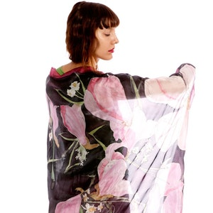 Hand painted Silk scarf- Pink Peonies, Floral fashion