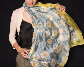 50add432e Moonflowers Silk Scarf Hand painted, Yellow grey shawl, Luxurious Woman  scarves, Spring Wedding, Oversized Floral scarf, Bridal wrap