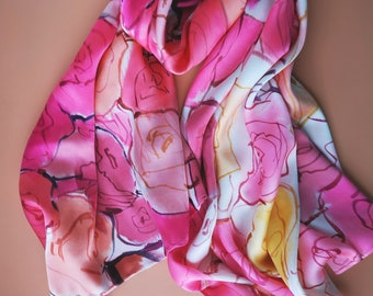Silk Satin Shawl with Abstract Roses | Hand painted scarf | Silk scarf women | Floral fashion | Flowers | Roses accessory | Christmas gift