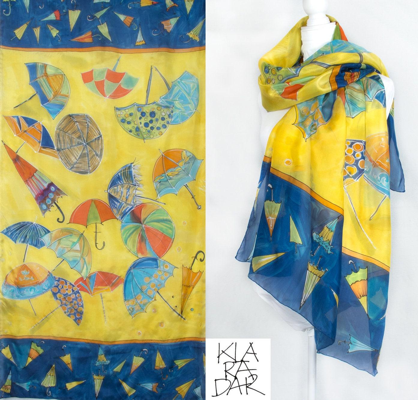 Silk Scarf Twirling Umbrellas Hand Painted Silk Scarf Bright Yellow