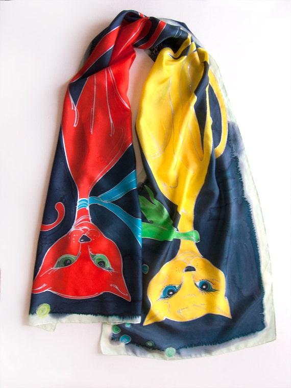 Foulard chat rouge chat jaune en soie   foulard peint-crêpe   Etsy fccfcac222b