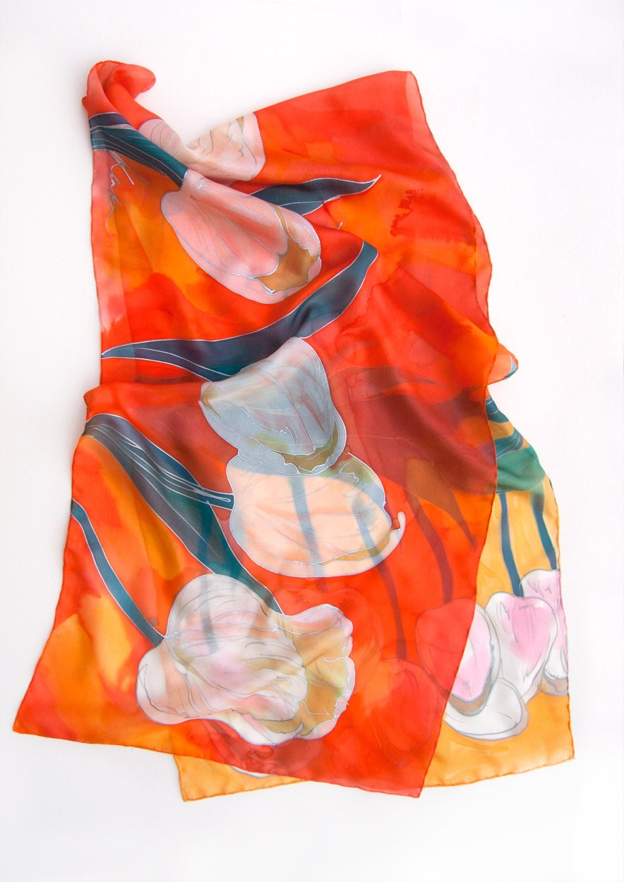 768ab9a11f260 Tulips Silk Scarf, Hand painted shawl, Bright summer scarves, Large ...