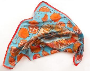Pomegranates silk scarf/ Square scarf hand painted/ Aqua red scarf, Fruits scarf, Designer scarf/ Habotai silk, Gift for mom, Bright scarf