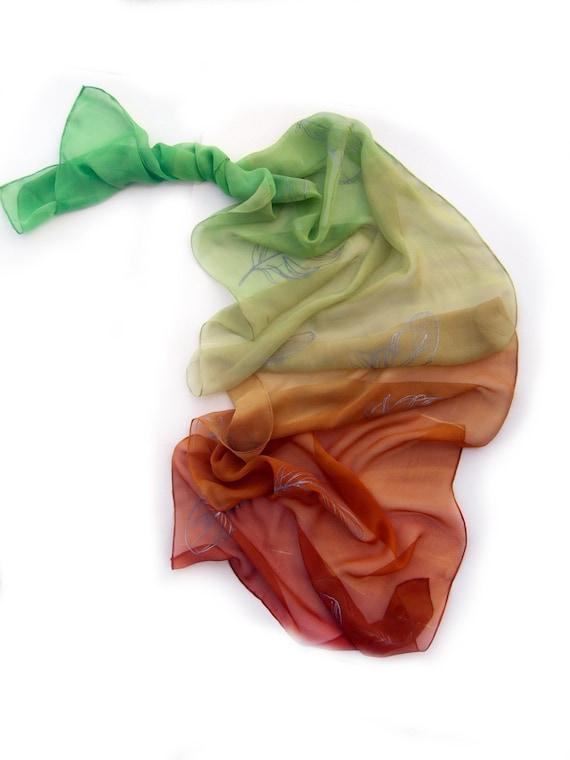 Plumes tombantes foulard peint écharpe Ombre foulard de   Etsy 0b522aad795