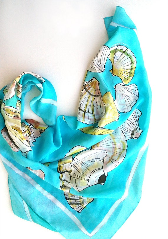 ee9c63f5211e2 Square silk scarf/ Hand painted seashells scarf. Aqua blue ocean scarf Silk  scarves for women Summer scarf Mother's Day gift, birthday gift