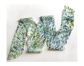 Lavender Stems SKINNY Silk scarf | Silk scarf for hair | Hand painted Narrow scarf | Long Neck scarf | Christmas gift Mum | Minimalist style