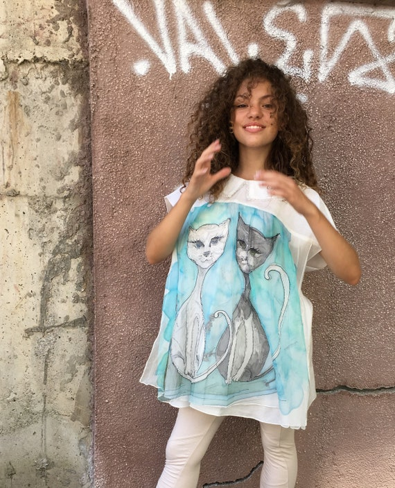 Woman cotton Blouse Casual cotton top Cat/'s blouse double layered Hand painted blouse Painted top Boho style top Animal lovers blouse