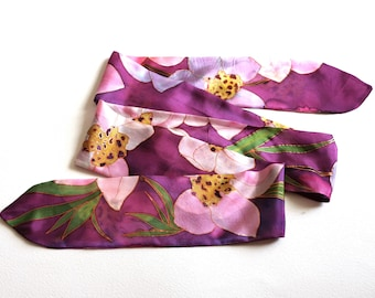 Purple SKINNY Silk scarf hand painted | Long narrow scar | Orchids scarf for hair | Headband purple | Floral accessory | Christmas gift her