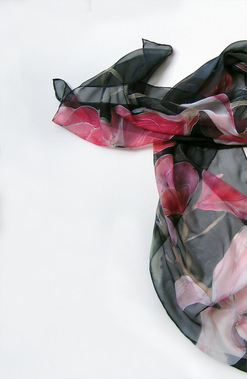Hand painted scarf- A Shy Magnolia  Black pink scarf, Silk chiffon scarf,  Magnolias scarf, Lightweight scarves Summer fashion Handmade scarf