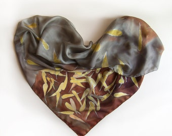 Silk Scarf- Falling Leaves Grey brown scarf hand painted Long fashion shawl Luxury gift woman Designer scarves Unique gift for mom gift her
