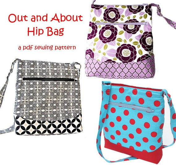 Out and About Hip Zipper Bag, immediate download of pdf sewing ...