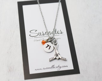 Best Friend Necklaces Personalized Jersey Numbers Hockey Gifts Hockey Player Goalie Necklace Ice Hockey Jewelry Hand Cut Coin