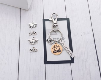 ROUND TAB 25 MM Large charm Color Guard Flag Girl Laser engraved 25mm charm silver tone keychain charm