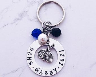 Personalized Tennis Charm Keychain - Tennis Player Gift - Senior Tennis Gift - Tennis Racquet Charm - Tennis Grad Gift - Tennis Gift