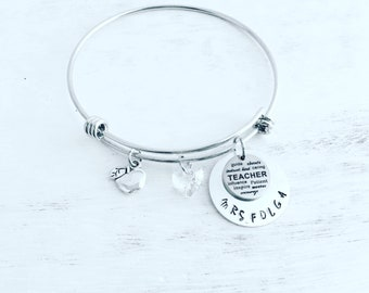 Teacher, teacher gifts, gifts for teachers, teacher appreciation gift, personalized teacher gift, personalized gifts, teacher charm bracelet