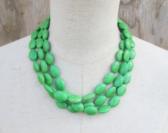 Apple Green Triple Strand Beaded Necklace, Layered Multi Strand Beads