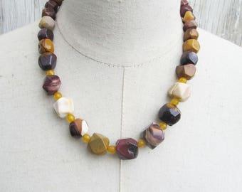 Mookaite Nuggets Necklace, Mustard Burgundy Purple Earth Harvest Tones