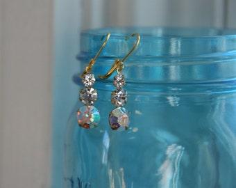 Clear Aurora Borealis Crystal Rhinestone Triple Drop  Earrings