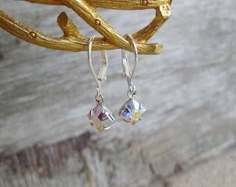 Swarovski AB Silver Clear Aurora Borealis Crystal  Petite Dangle Earrings