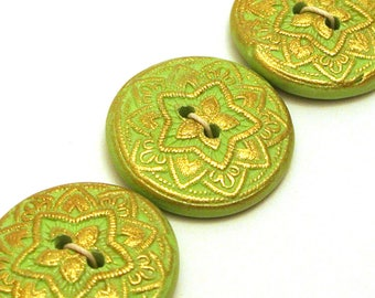 Handmade Round Buttons Pale Green and Gold Textured  25mm