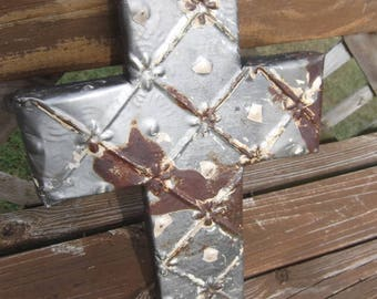 Small Vintage Ceiling Tin Cross  2