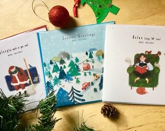 Illustrated chrstmas cards, enjoy me time, sleeping santa and christmas trees