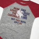 House Divided | Cardinals | Cubs t-shirt | baseball shirt | bodysuit | shirt |  baby gift | sports rivals | team | Raglan Sleeve | Baseball