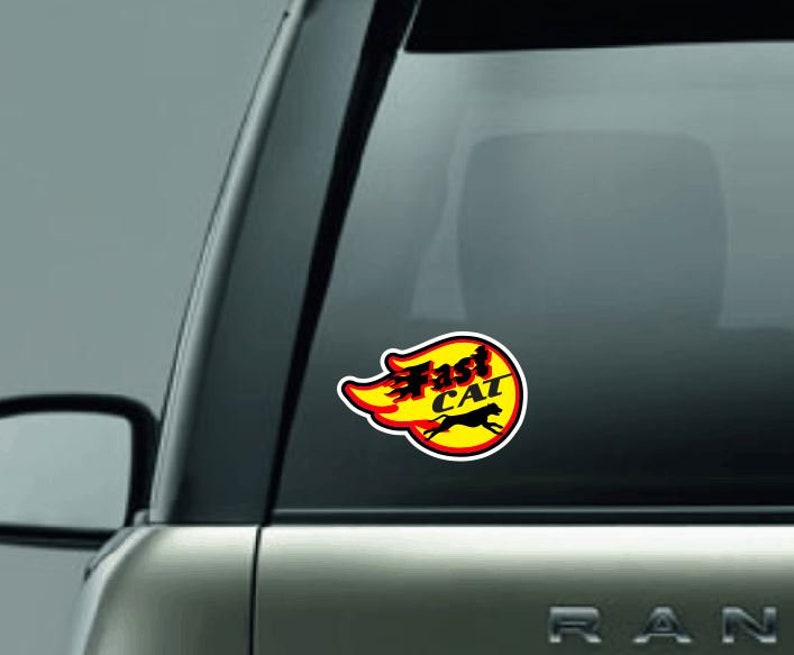 Fast Cat Car Decal Fast Cat Trial Full Color Car Decal  image 0
