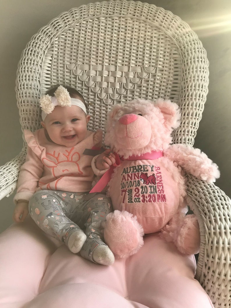 Personalized Bear  stuffed animal  baby gift  birth stat image 0