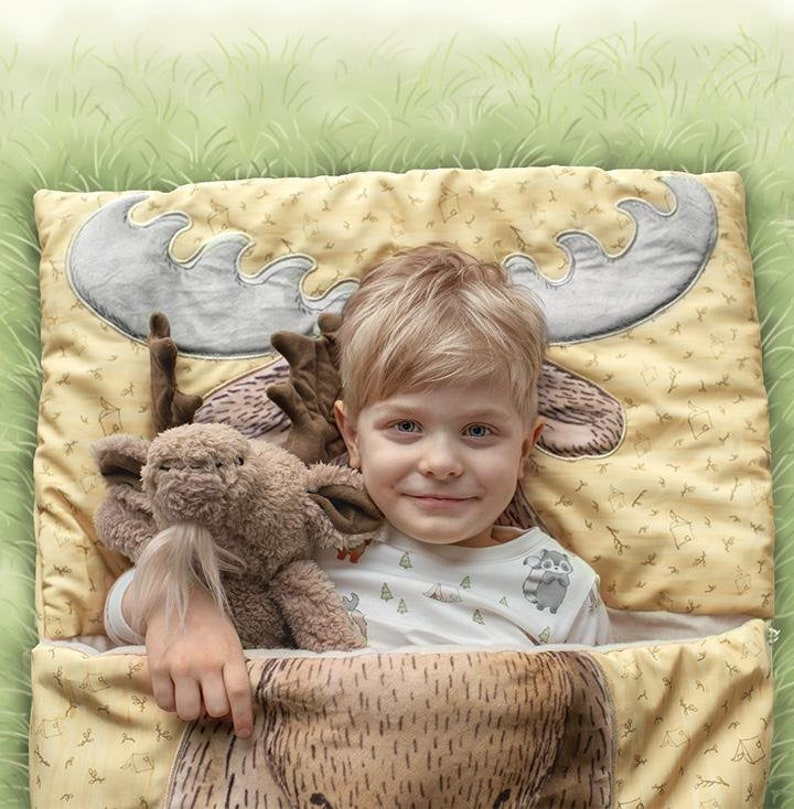 Personalized Nap Sack  Sleep sack kids  Moose  Preschool image 0
