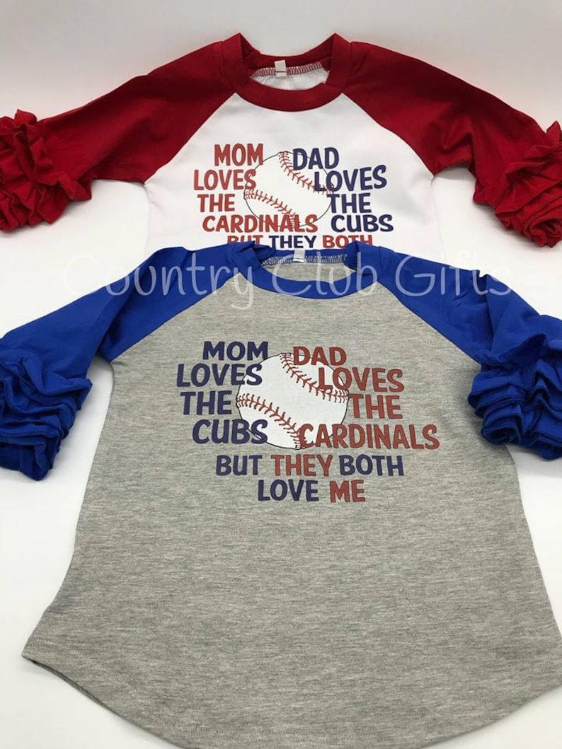 House Divided  GIRL shirt  Cardinals  Cubs baseball shirt  image 0