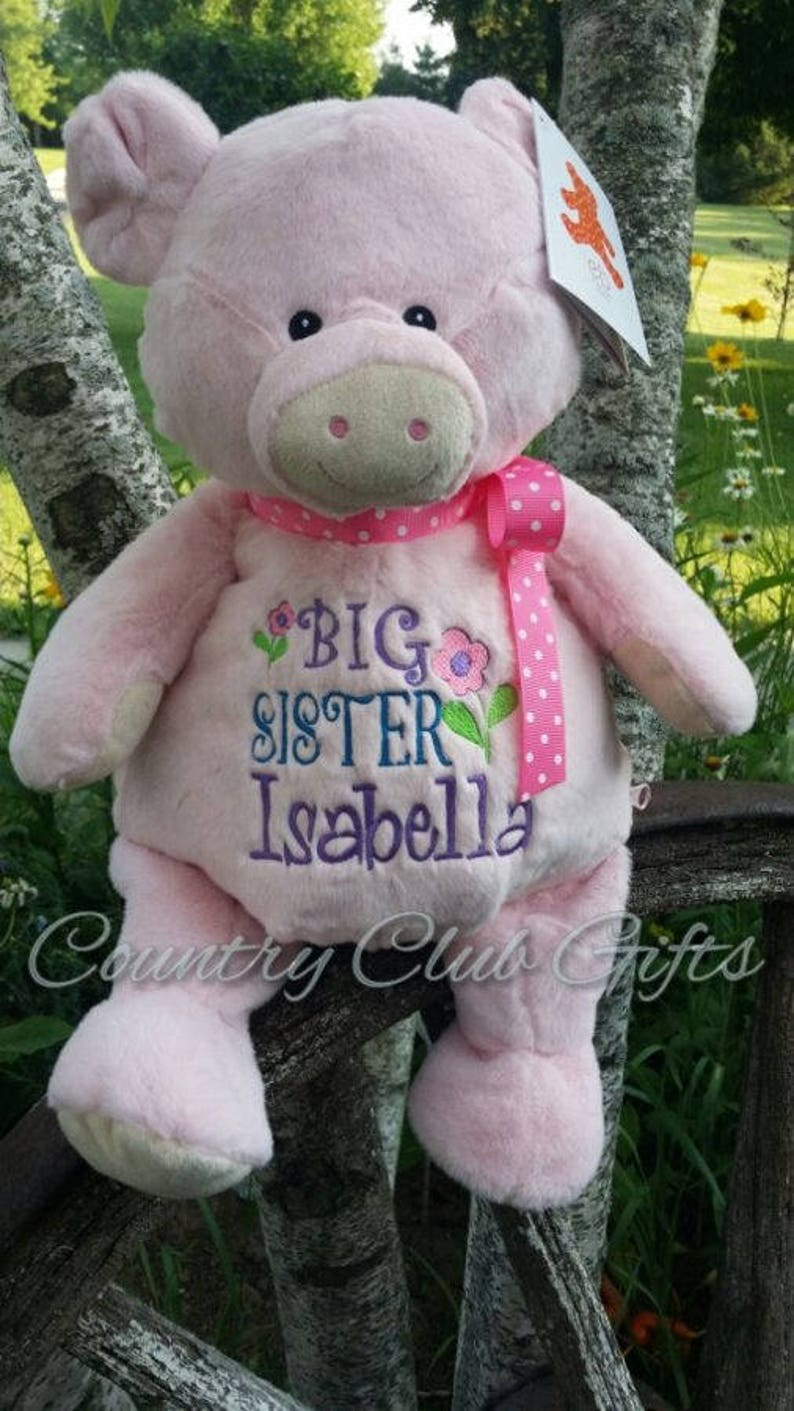 personalized baby gift Big Sister birth stat Pig stuffed image 0
