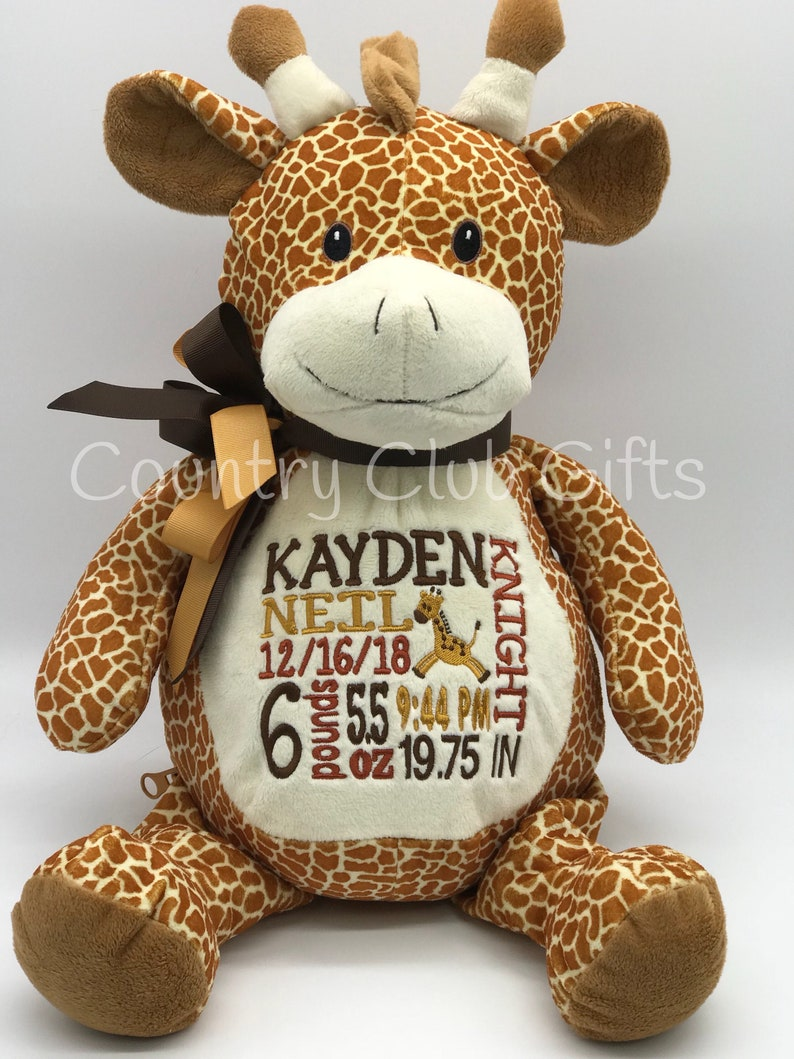 Personalized baby gift personalized stuffed animal birth image 0