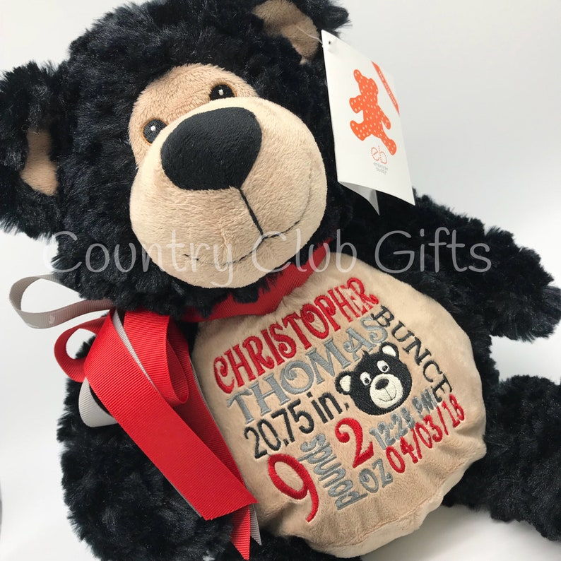 personalized stuffed animal baby gift birth stat Teddy Bear image 0