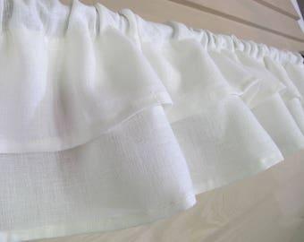 White Linen Ruffled Valance Romantic 100 Percent Natural White Linen Ruffles Custom Made to Order Modern Farmhouse