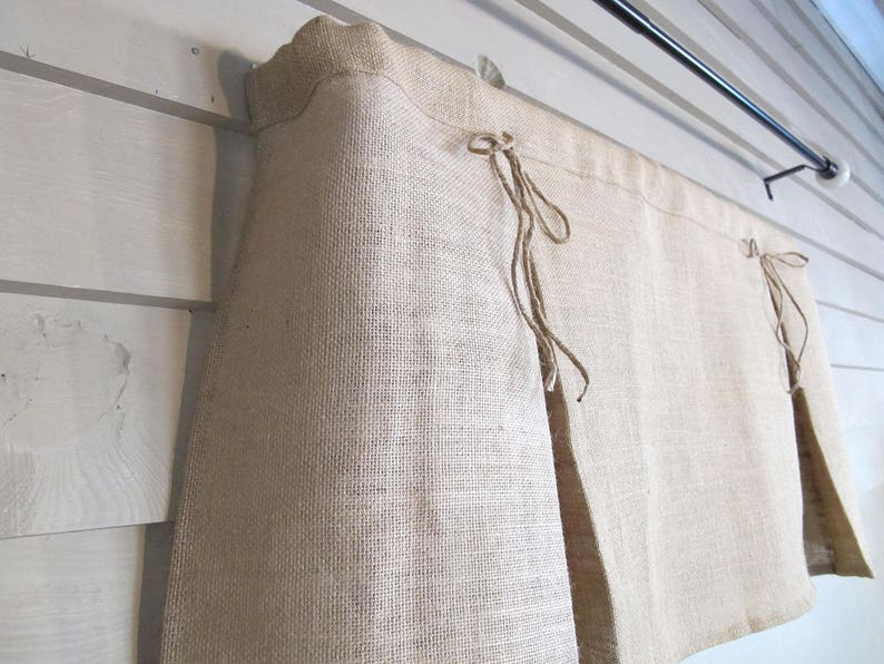 Pleated White Burlap Valance with Jute Bows Window Treatment Natural Rustic Curtain