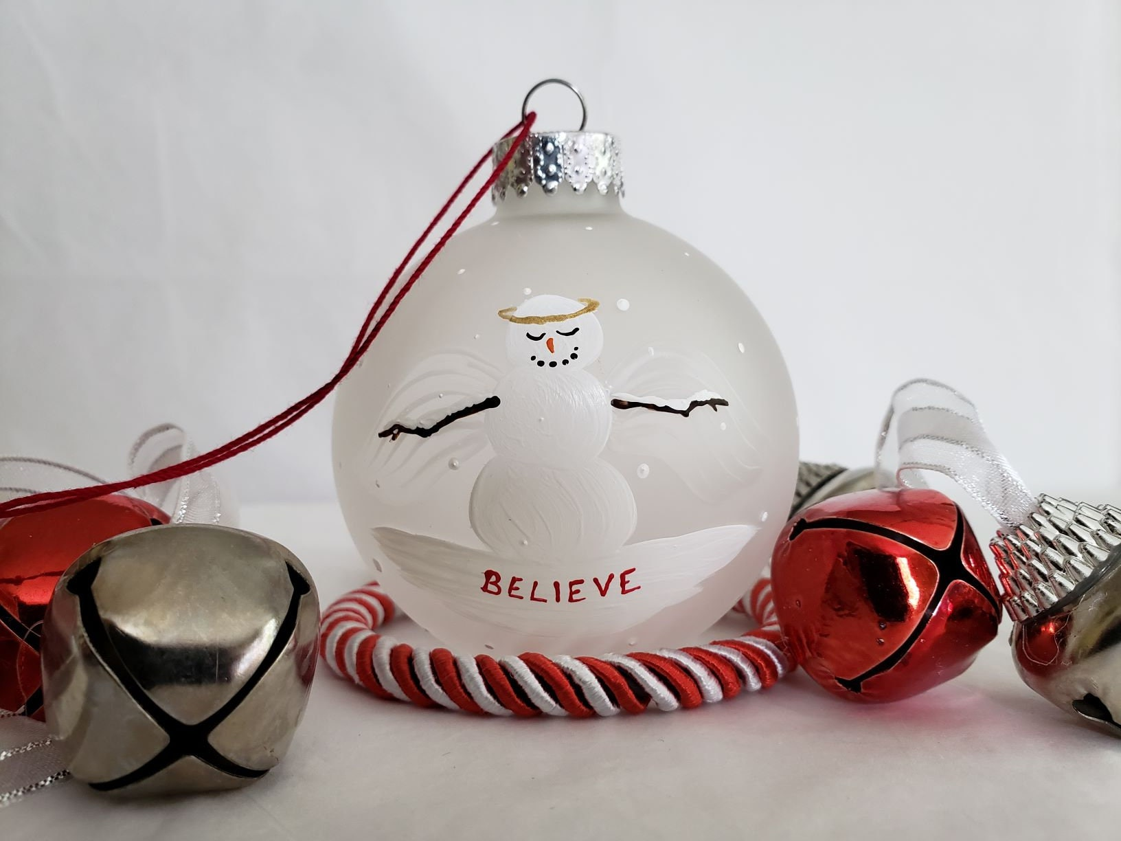 Snow angel Believe Frosted glass Christmas Ornament hand