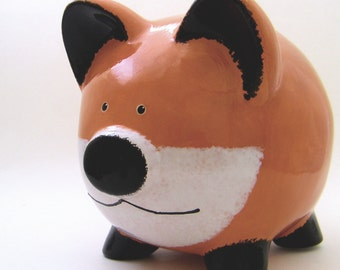Original Red Fox Personalized Piggy Bank, Piggy Bank, Woodland Bank, Wild Animal Bank, Forest Theme Bank, Baby Gift, with hole or NO hole