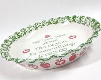 Smiley Face Pie Plate Ceramic Pie Dish Hand Painted Baking Dish Hand Painted Plate Happy Face Pie Plate Deep Dish Bakeware Emoji Plate