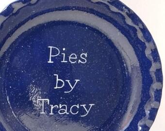 Blue Enamelware Pie Dish - Personalized Pie Plate - Navy Blue Pie Dish - Vintage Look & Watermelon Pie Dish Personalized Pie Plate Ceramic