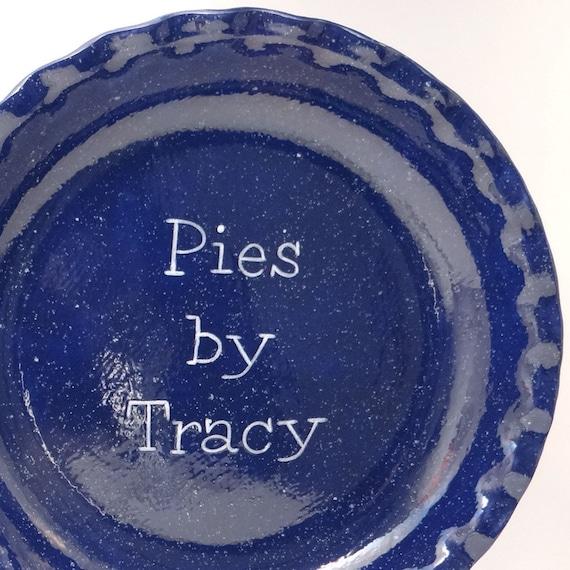 Émail bleu Pie plat - assiette à tarte tarte personnalisé plaque - plat à tarte bleu marine - Look Vintage - métal émaillé plat - les boulangers cadeau